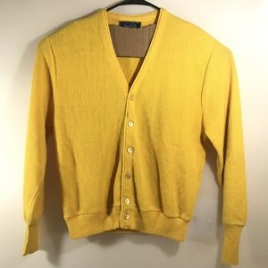 Vintage Yellow Cardigan Sweater Mister Rogers M